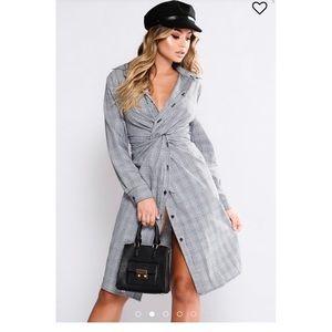 Fashion Nova Plaid Shirt Dress Black Gray white